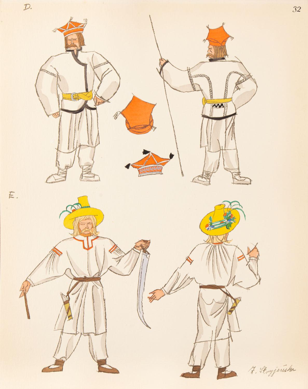 Chłop z Polesia i gospodarz z Lubelszczyzny, plansza XXXII z teki 'Polish Peasants' Costumes'