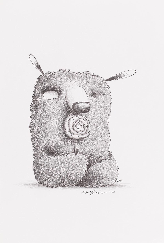 Teddy bear with a lollipop, 2020