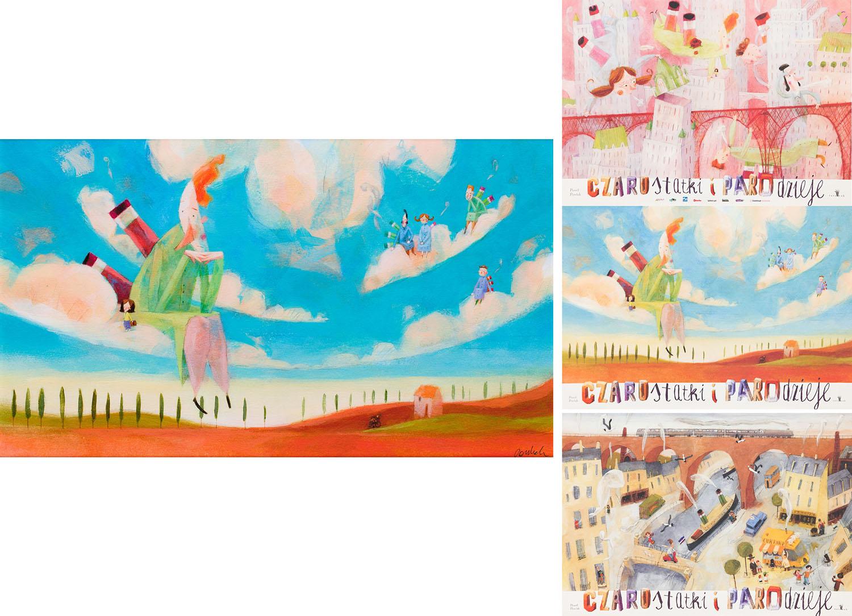 """Ilustracja """"Odpoczynek w chmurach"""" z książki """"Czarostatki i parodzieje"""" oraz zestaw trzech plakatów, 2012"""