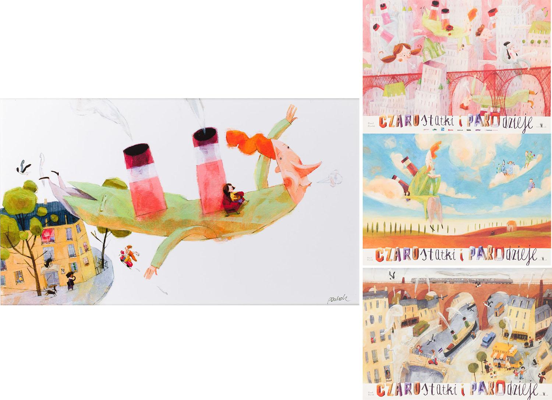 """Ilustracja """"Miasto"""" z książki """"Czarostatki i parodzieje"""" oraz zestaw trzech plakatów, 2012"""