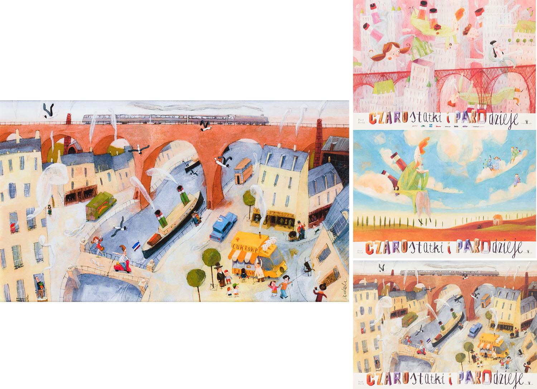 """Ilustracja """"Lecimy"""" z książki """"Czarostatki i parodzieje"""" oraz zestaw trzech plakatów"""