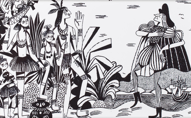 """Ilustracja z książki Artura Domosławskiego """"Kolumb. Całkiem inna historia"""" (4), 2019"""