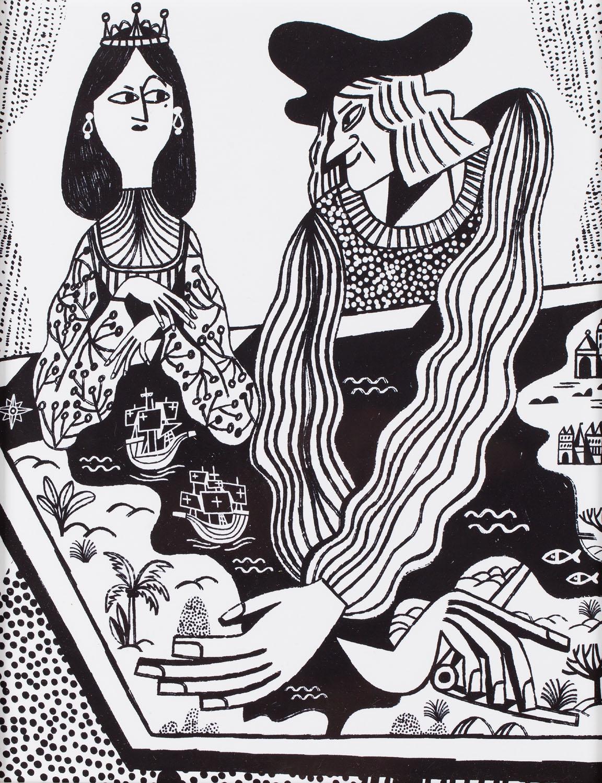 """Ilustracja z książki Artura Domosławskiego """"Kolumb. Całkiem inna historia"""" (1), 2019"""