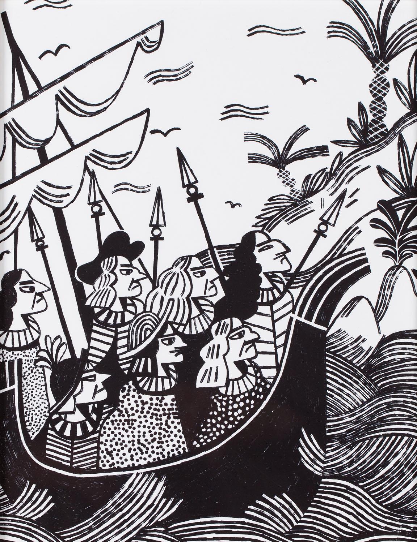 """Ilustracja z książki Artura Domosławskiego """"Kolumb. Całkiem inna historia"""" (2), 2019"""