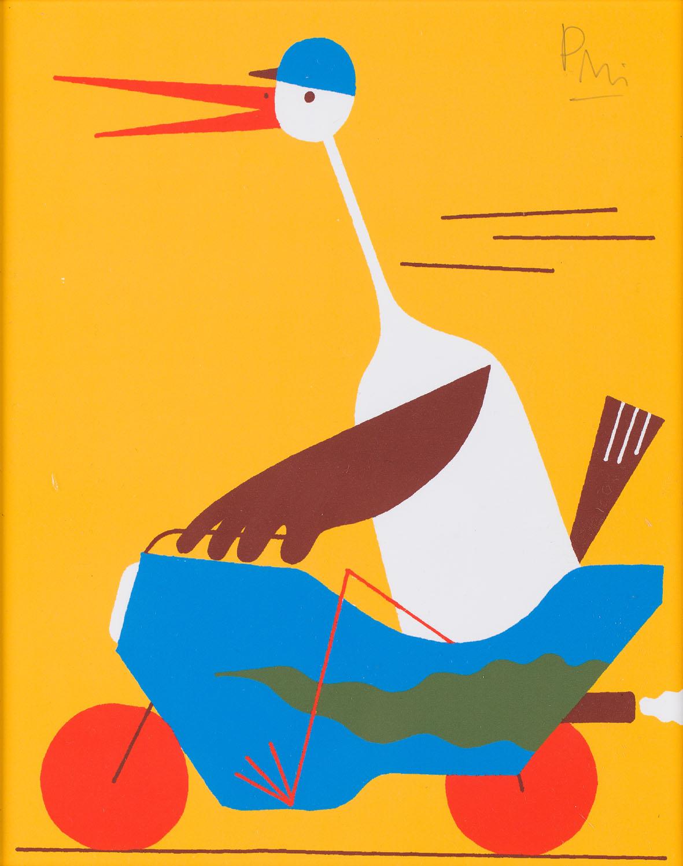 """Ilustracja """"Bocian"""" z książki """"Ciekawe, co myśli o tym królowa"""", 2013"""
