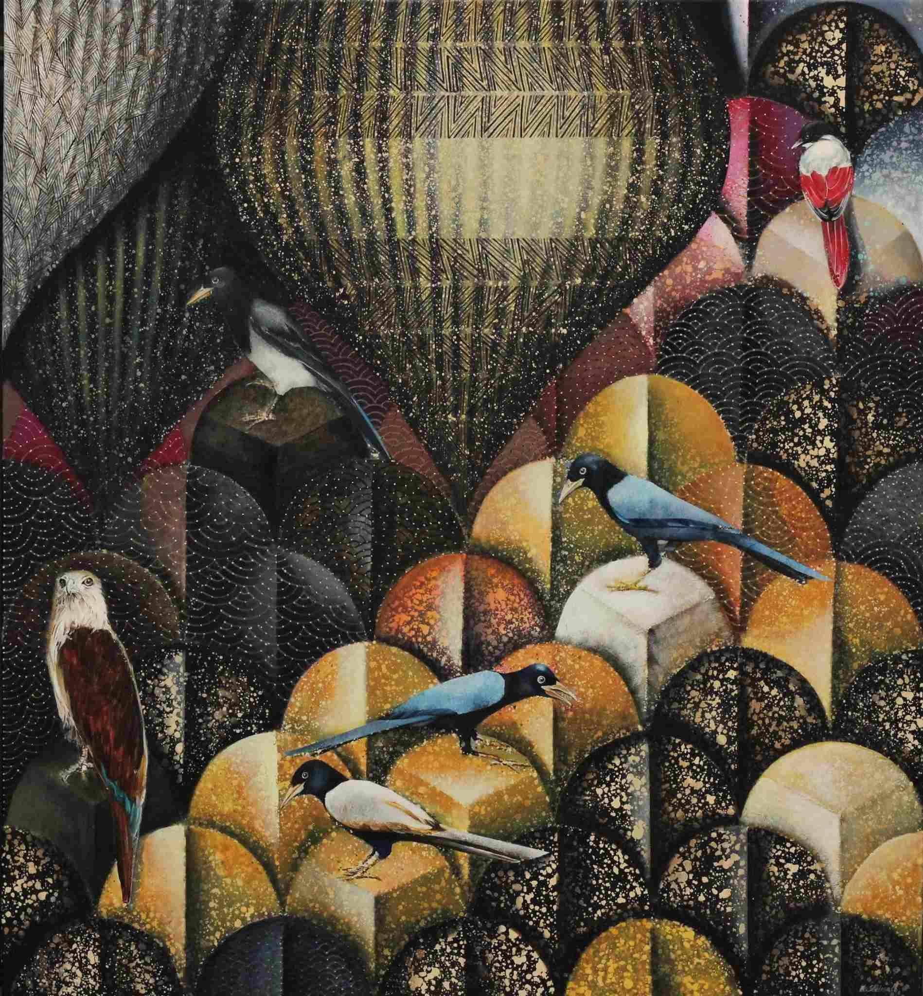 Kompozycja z czerwonym ptaszkiem, 2021