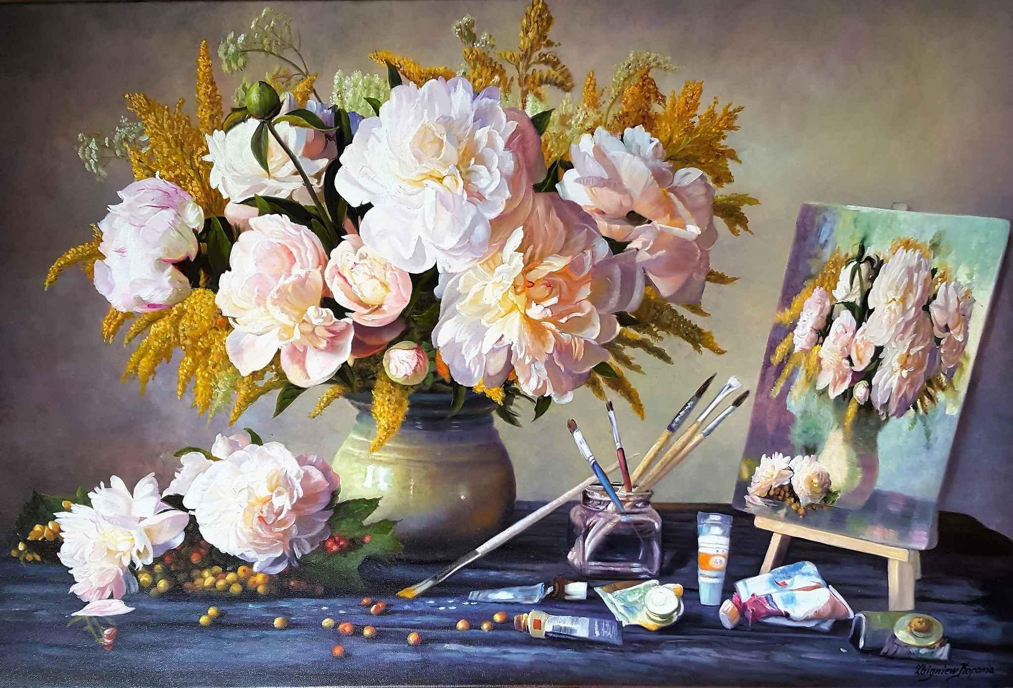 Martwa natura - bukiet kwiatów, 2017