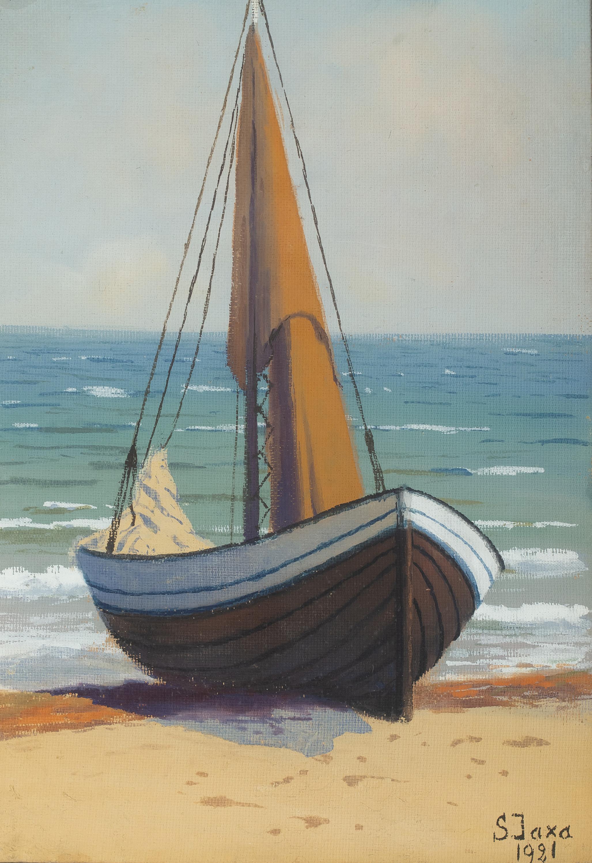 Łodź na brzegu, 1921 r.