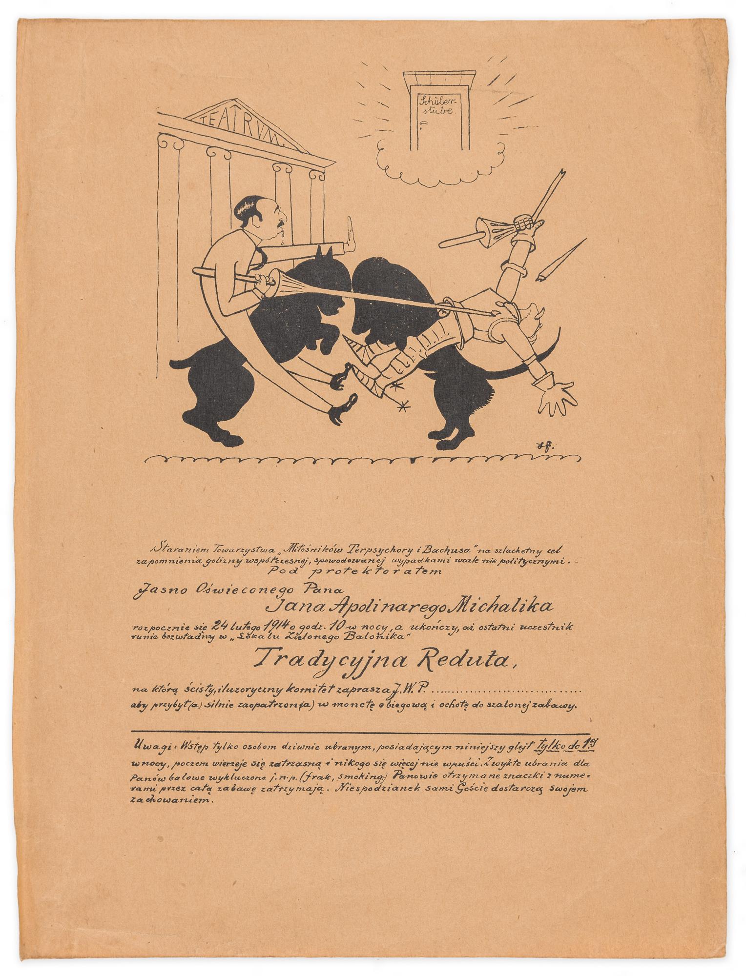 Zaproszenie na Tradycyjną Redutę Zielonego Balonika, 24 II 1914