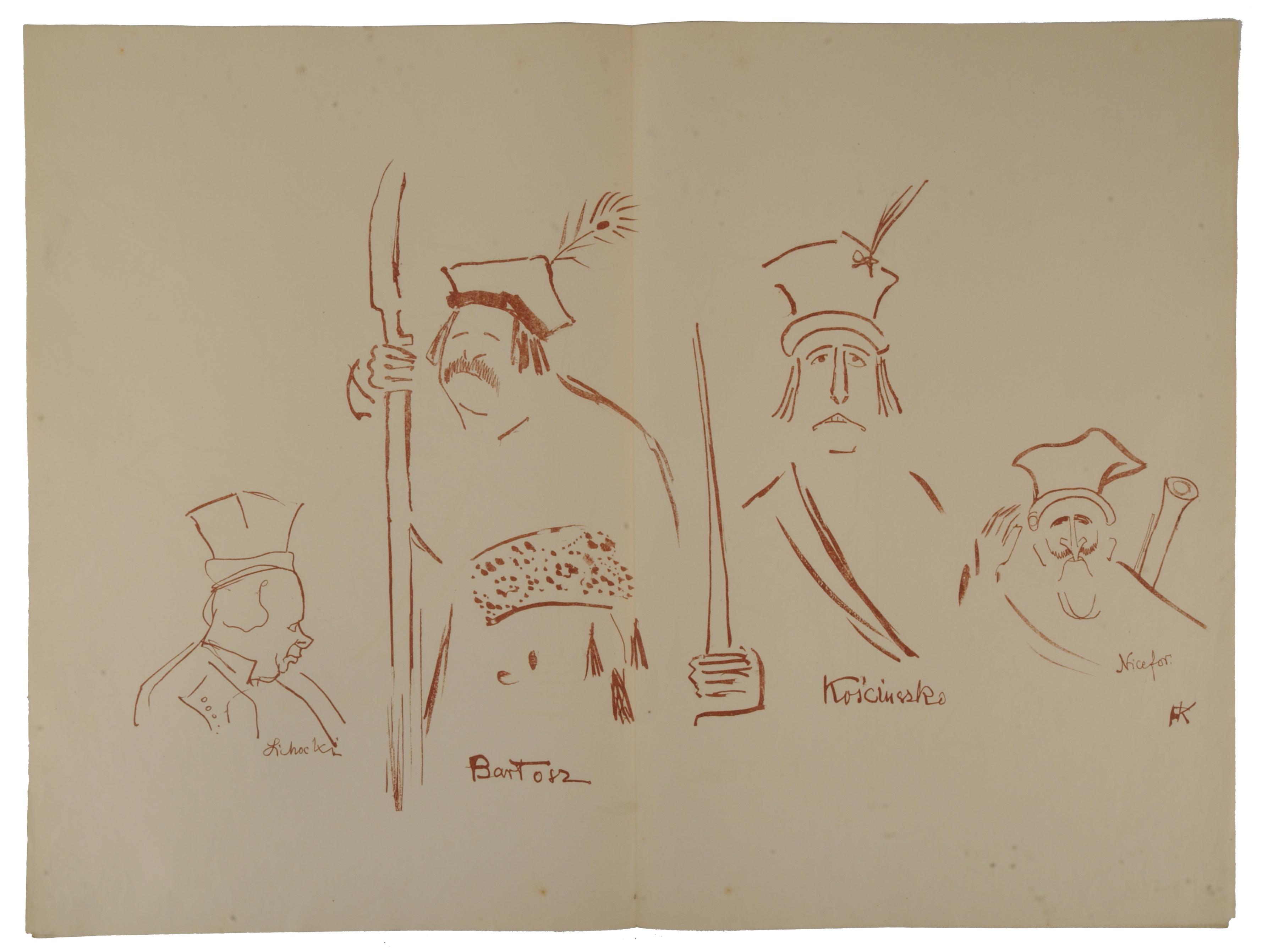 """Zelwerowicz, Kotarbiński i Jednowski jako Lichocki, Bartosz i Nicefor oraz Kościuszko w sztuce Anczyca """"Kościuszko pod Racławicami"""", 1904"""
