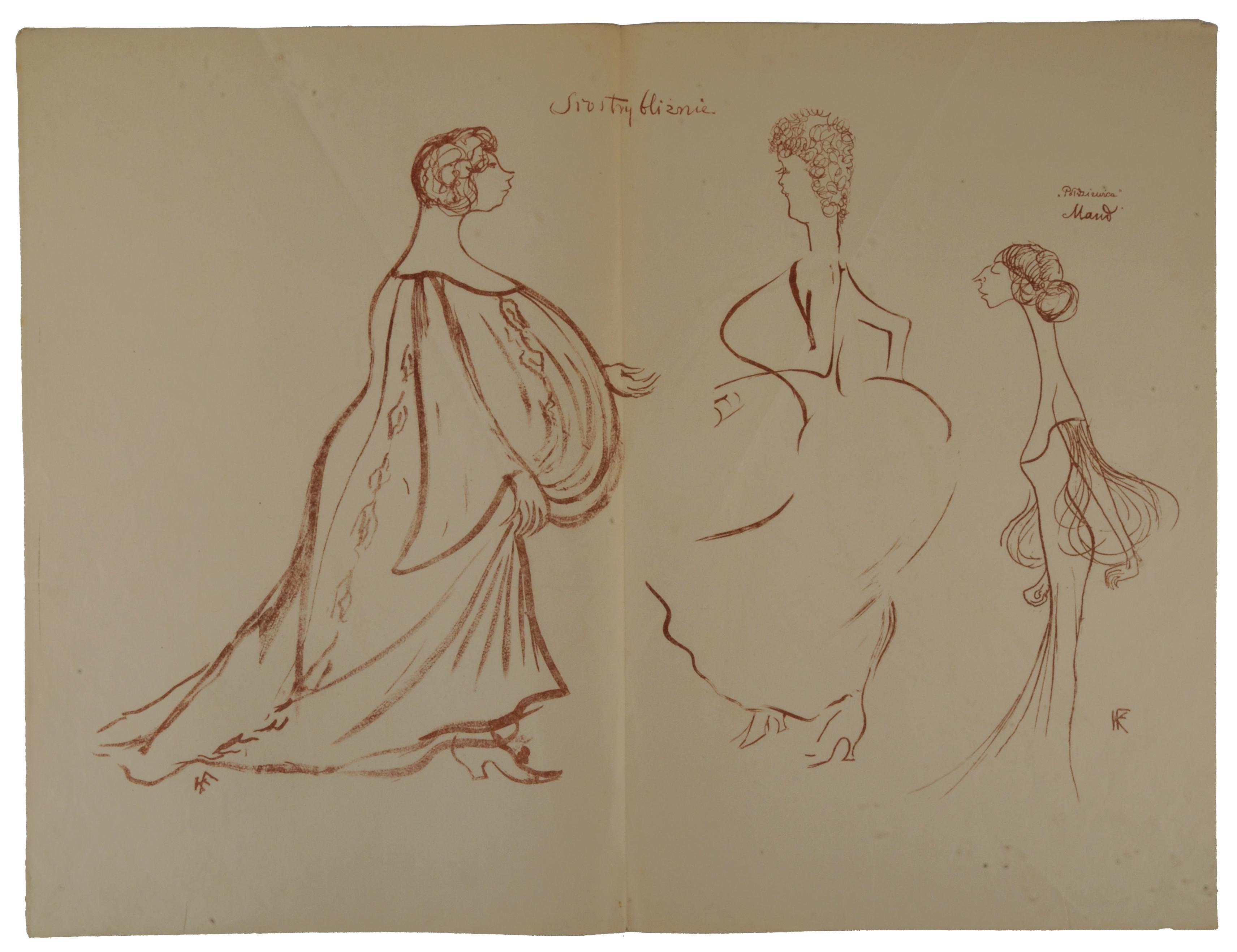 """Felicja Rutkowska, Ludwiga Fulda i Bronisława Jeremi w sztuce """"Siostry Bliźnie"""", 1904"""