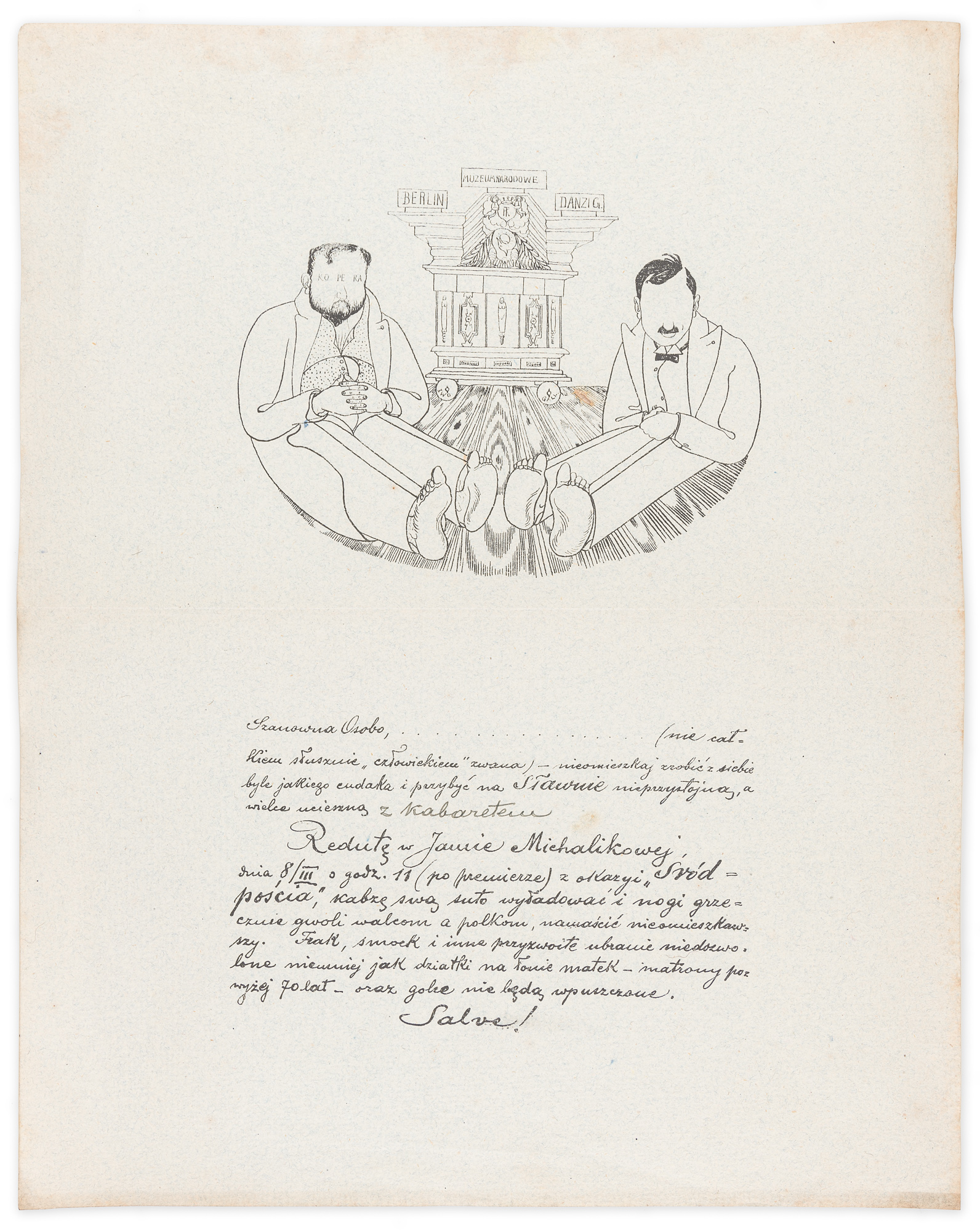 """Zaproszenie na """"Redutę w Jamie Michalikowej"""" 8 III [1914?]"""