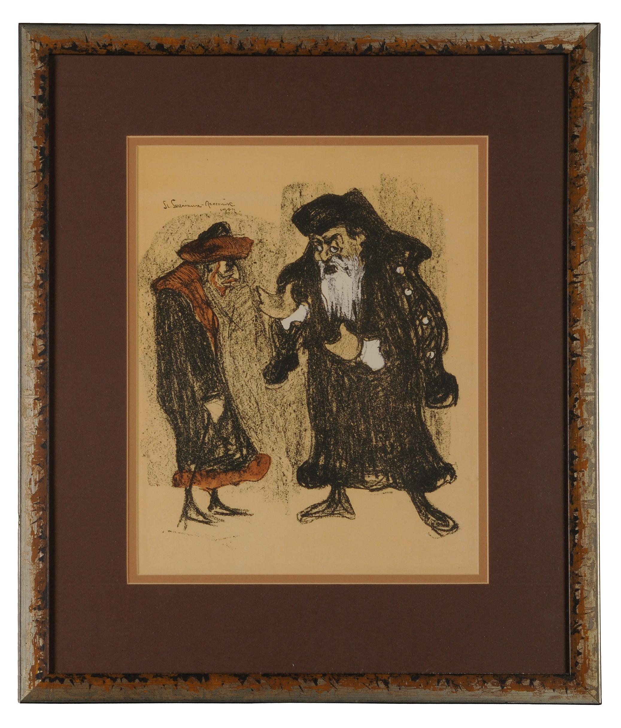 """Józef Kotarbiński jako Shylock i Stanisław Bronicz jako Tubał w sztuce Szekspira """"Kupiec Wenecki"""", 1904"""