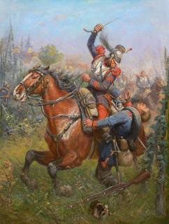Potyczka francuskiego kirasjera z piechurem pruskim, scena z wojny francusko-pruskiej l. 1870-1871
