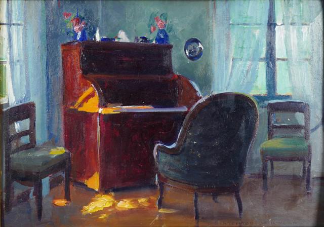 Wnętrze salonu, ok. 1920