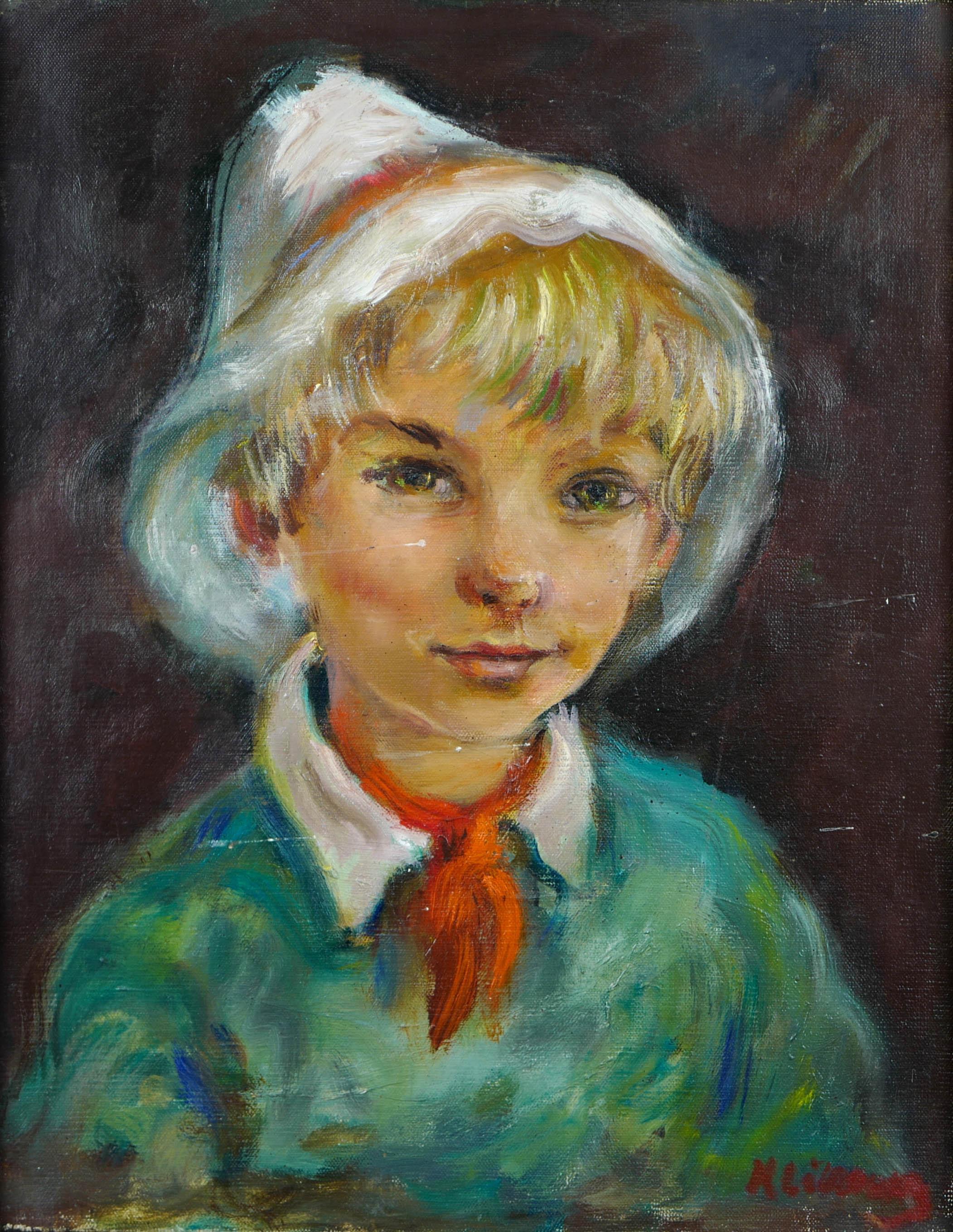 Chłopiec w białym kapeluszu