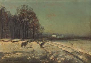 Pejzaż zimowy z wilkami
