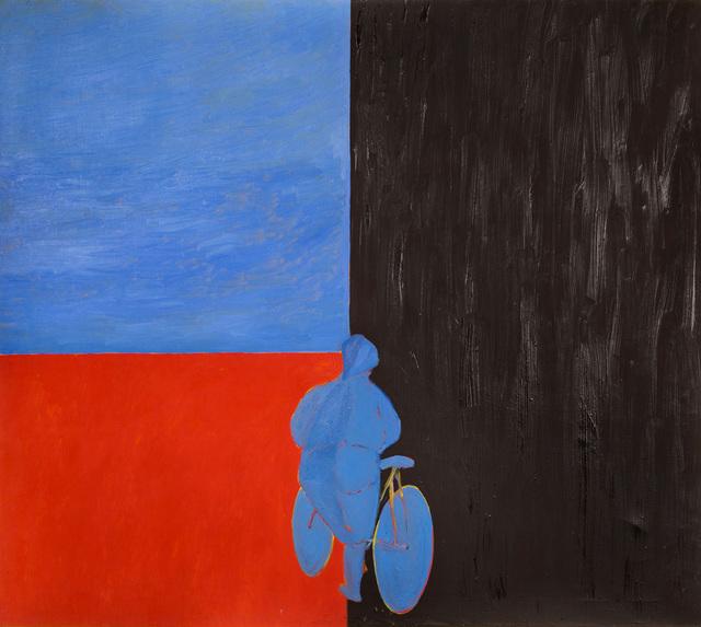 Kobieta wsiada na rower w kierunku Magdalenki, 1993