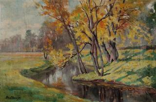 Jesienny pejzaż z zakolem rzeki