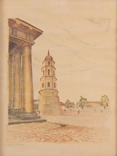 "Plac katedralny z teki ""Wilno"", 1929"