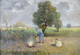 Pejzaż wiejski z pracującymi kobietami