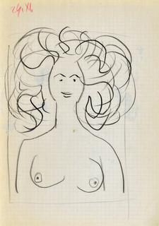 Popiersie nagiej kobiety o bujnych włosach, 1963