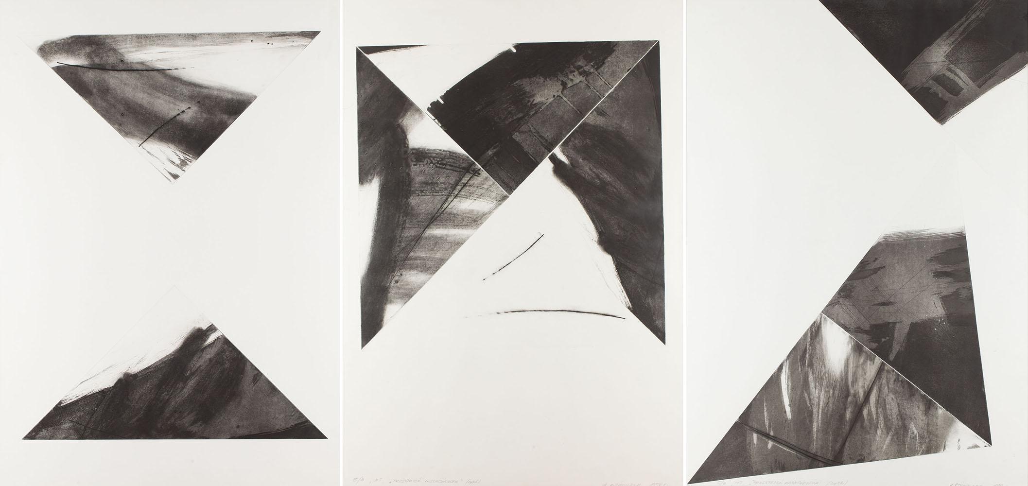 """""""Przestrzeń nieskończona"""" (zestaw trzech grafik), 1998"""