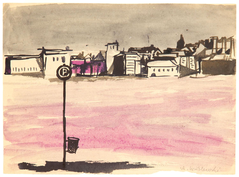 Pejzaż miejski nr 416, Scena zbiorowa nr 416 (na odwrociu), około 1950