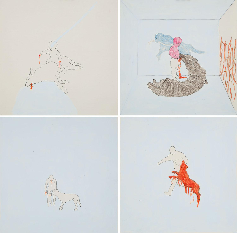 """4 rysunki z serii """"Dzieci i zwierzęta"""", 2007/2008"""