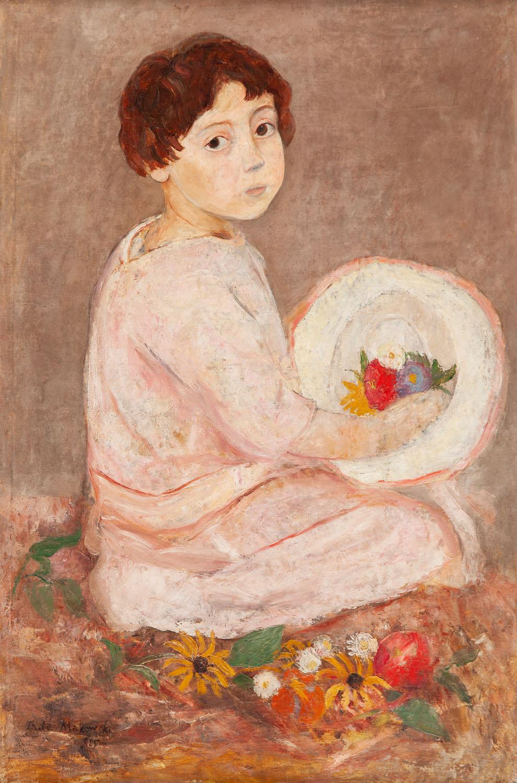 """""""Dziewczynka z kapeluszem i kwiatami"""" (""""Jeune fille au chapeau et fleurs""""), około 1925"""