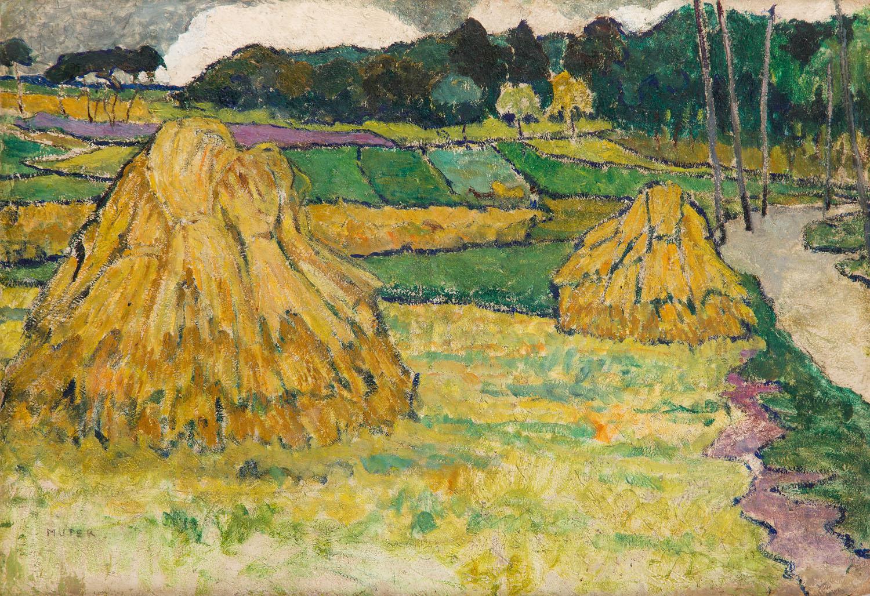 """""""Pejzaż - dwa stogi siana"""", około 1905"""
