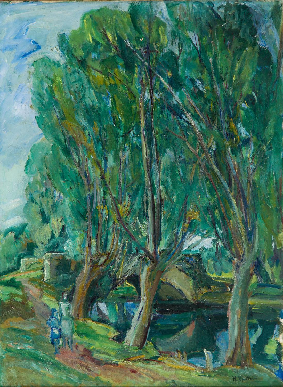 Pejzaż z drzewami nad rzeką, 1935-1940