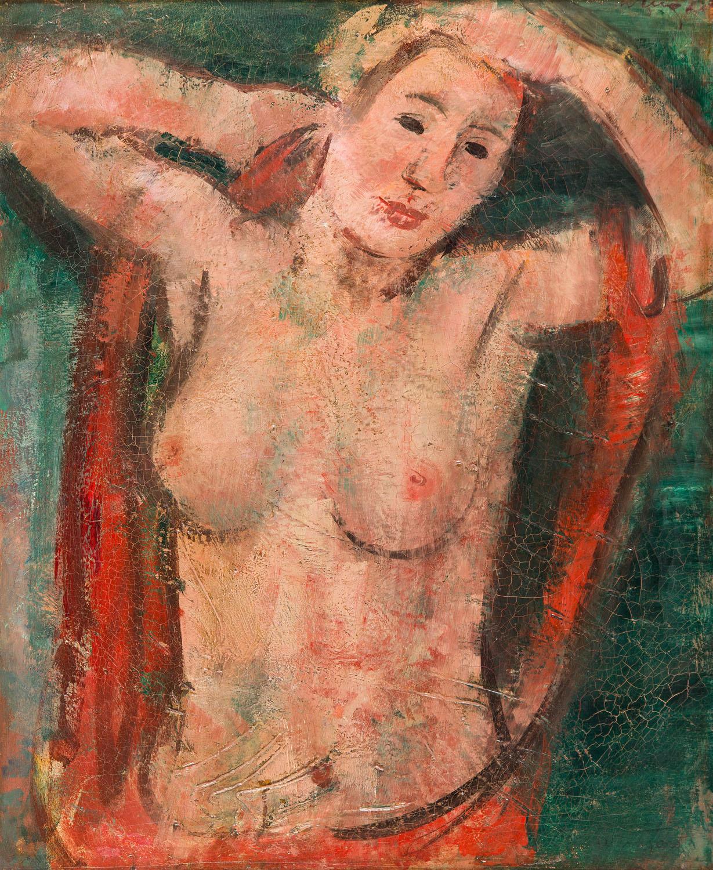 """Akt żeński z uniesionymi rękoma (""""Buste de Femme nue, les bras levés""""), przed 1936"""