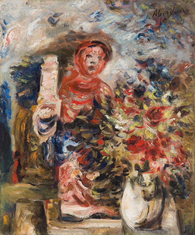 Martwa natura z kwiatami i figurką, około 1930