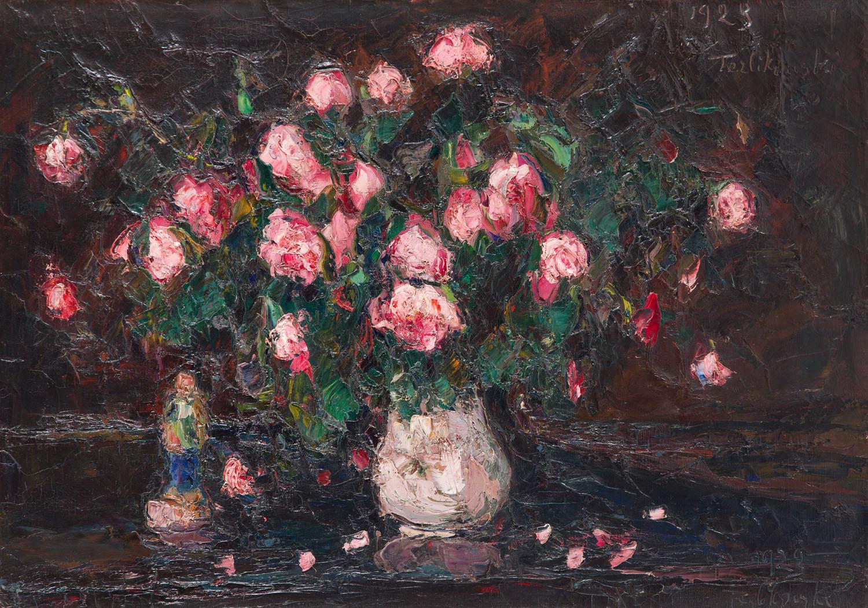 Martwa natura z różami w wazonie i laleczką, 1923