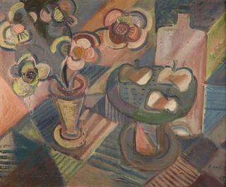 Martwa natura z kwiatami w wazonie i jabłkami, 1935