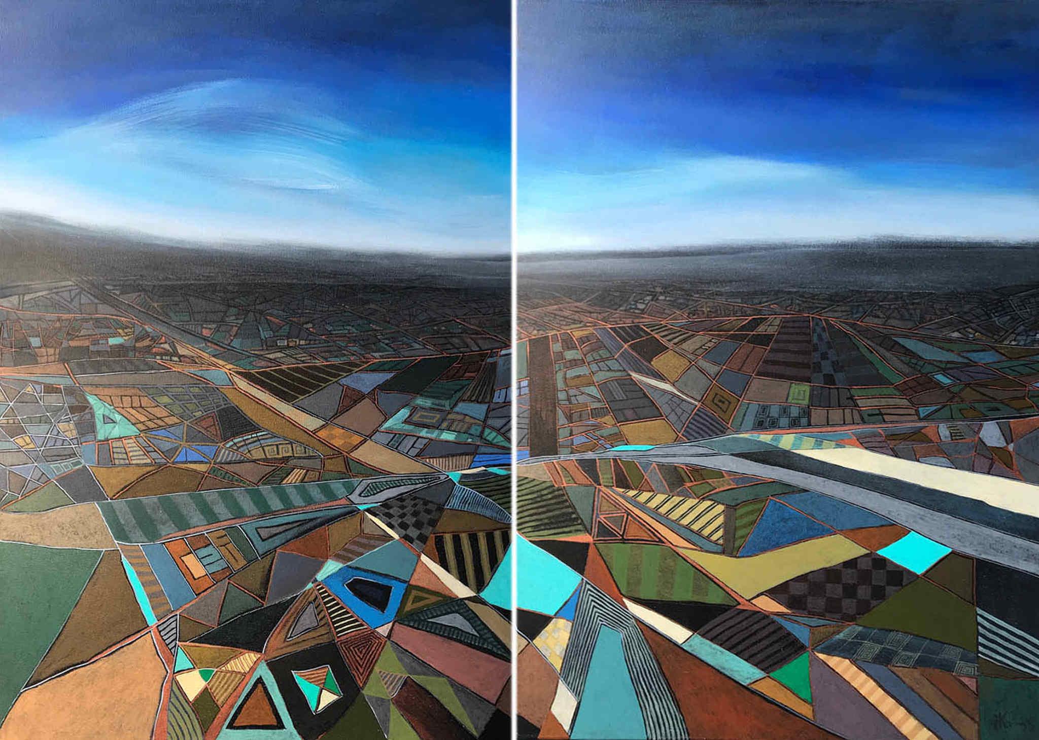 Pejzaż abstrakcyjny (dyptyk), 2019