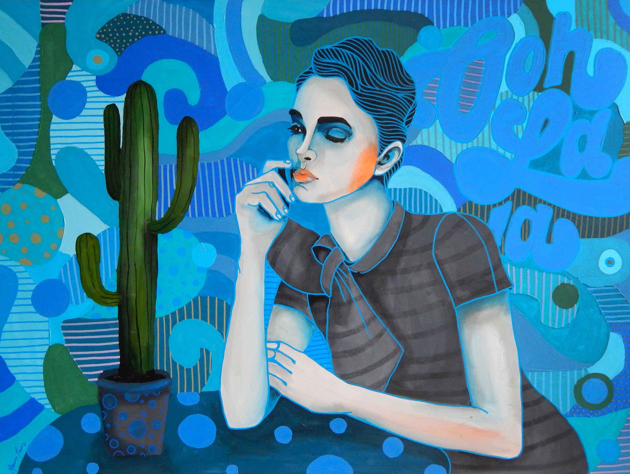 Ona i kaktus w niebieskich kolorach, 2019