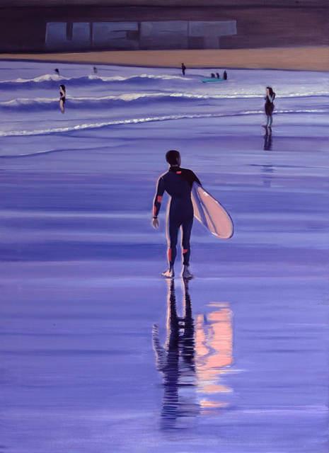 Le surfeur avec un surfoboard rose, 2021