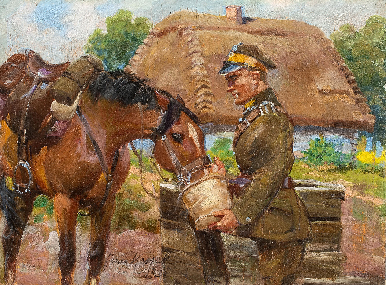 Ułan z koniem, 1930 r.