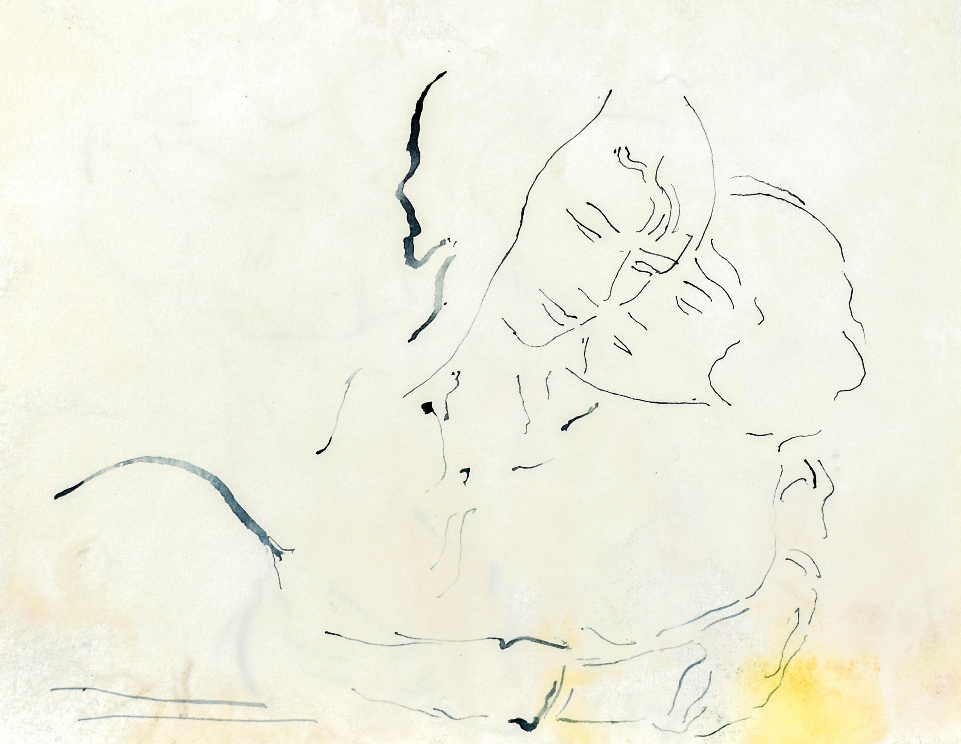 Szkic przytulającej się pary