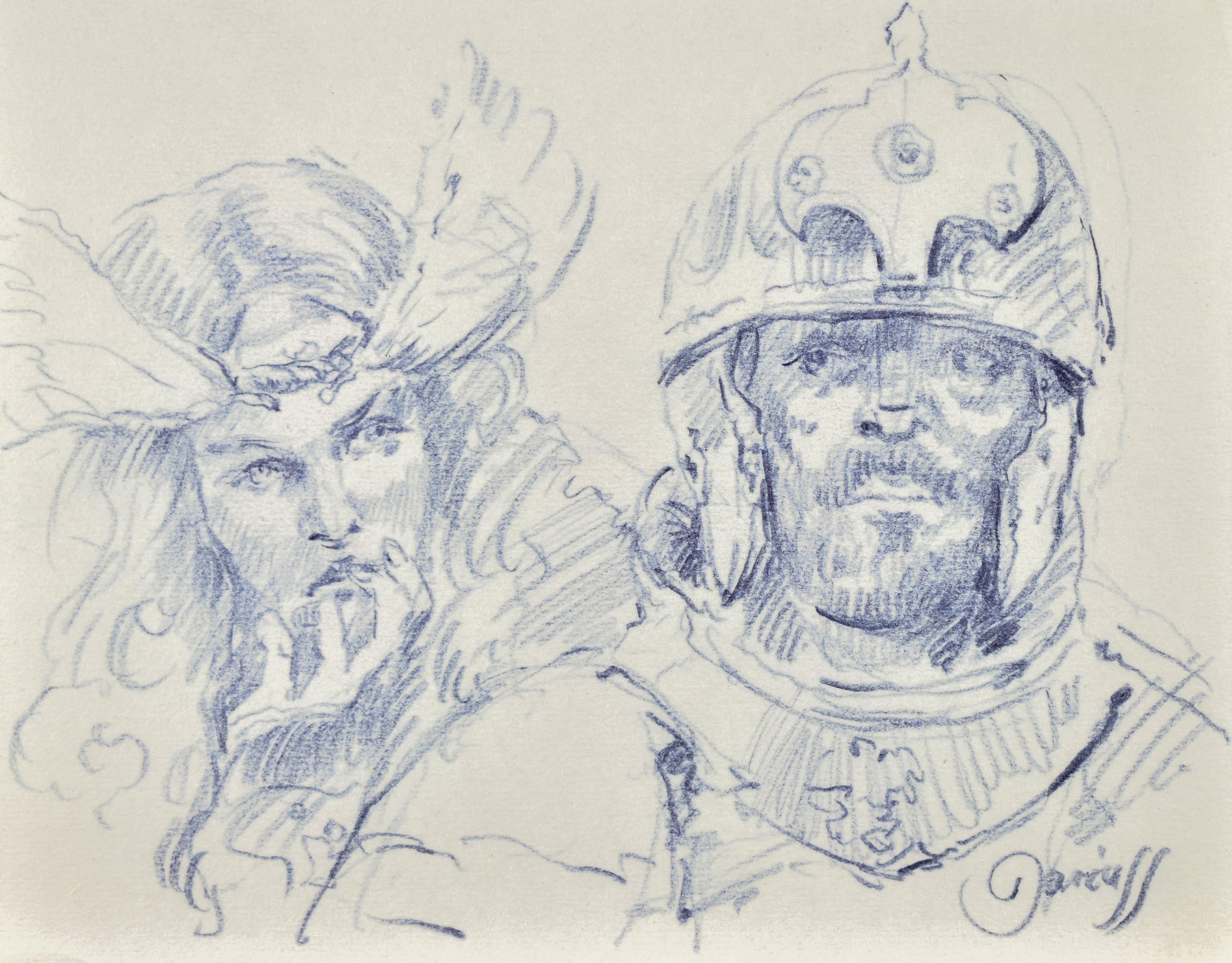 Szkic popiersia dwóch rycerzy