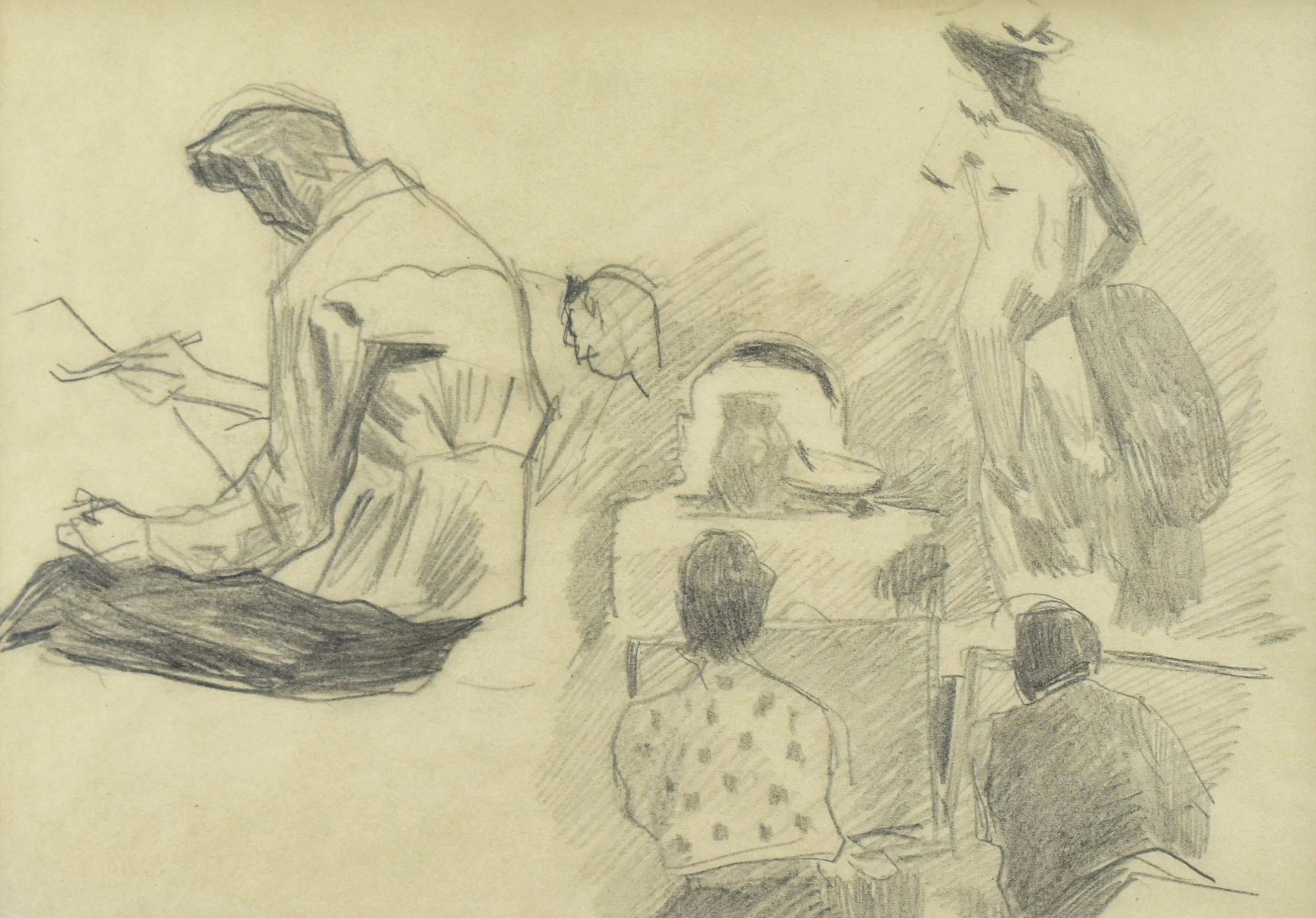 W pracowni lekcja rysunku z kopii Dawida Donatela, III 1941(?)