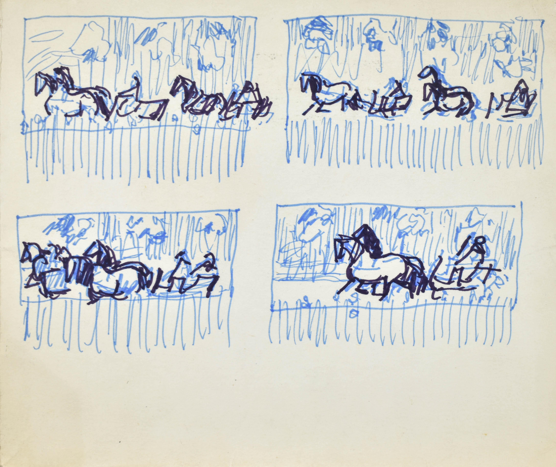 Cztery szkice kompozycyjne z motywami koni