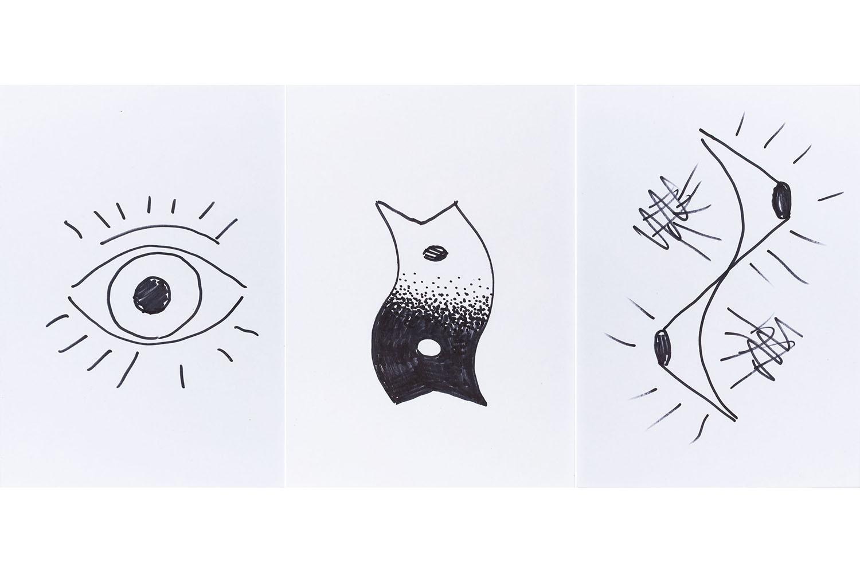 """""""Jak cyklop, obraz patrzy na mnie"""" - zestaw trzech ilustracji do rozmowy w kwartalniku Artluk nr 2/2009, 2009"""