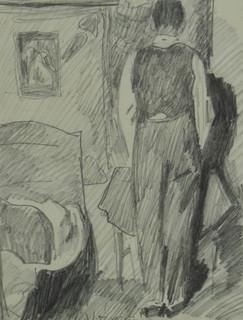 Postać męska we wnętrzu, wizerunek własny? ukazany tyłem, 1937