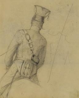 Studium korpusu ułana siedzącego na koniu, ukazanego od tyłu, 6 II (lub XI) 1894