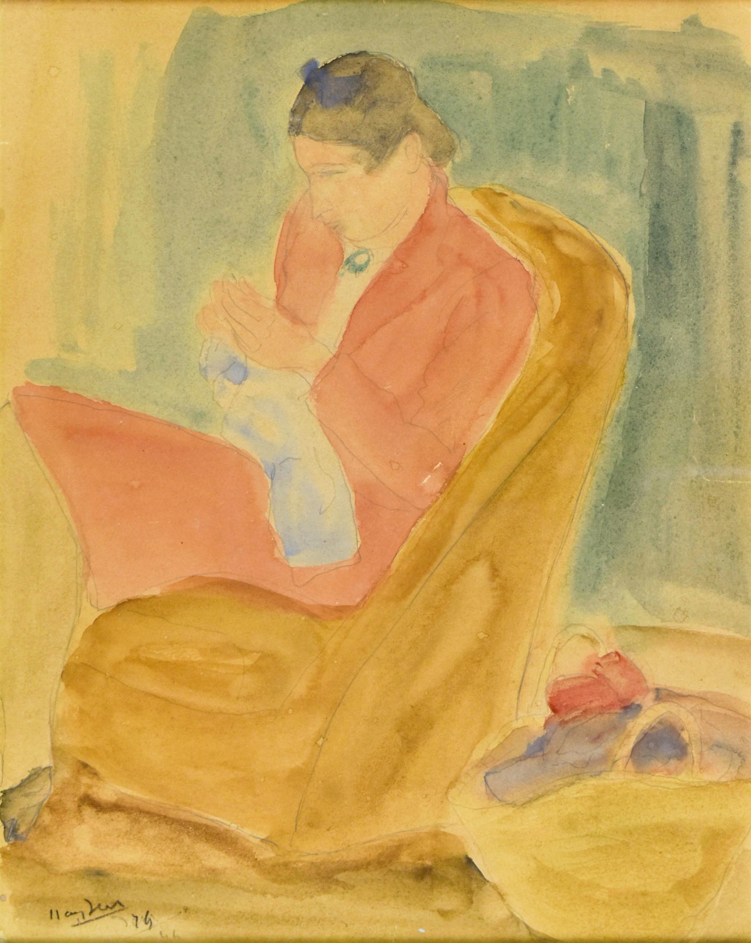 Szyjąca kobieta siedząca w fotelu, 1946