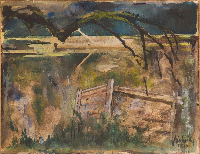 Pejzaż zza płotu, 1918
