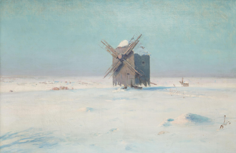 Wiatrak na śnieżnym stepie, 1924 r.
